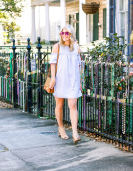Blue Cold Shoulder Dress + Block Heels by life and fashion blogger Audrey Madison Stowe
