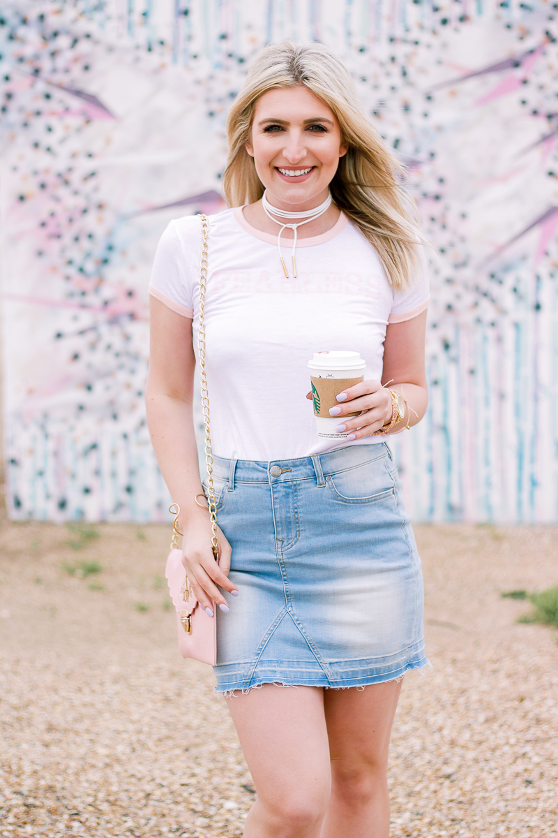 How To Style A Denim Skirt Two Ways by Audrey Madison Stowe a lifestyle and fashion blogger