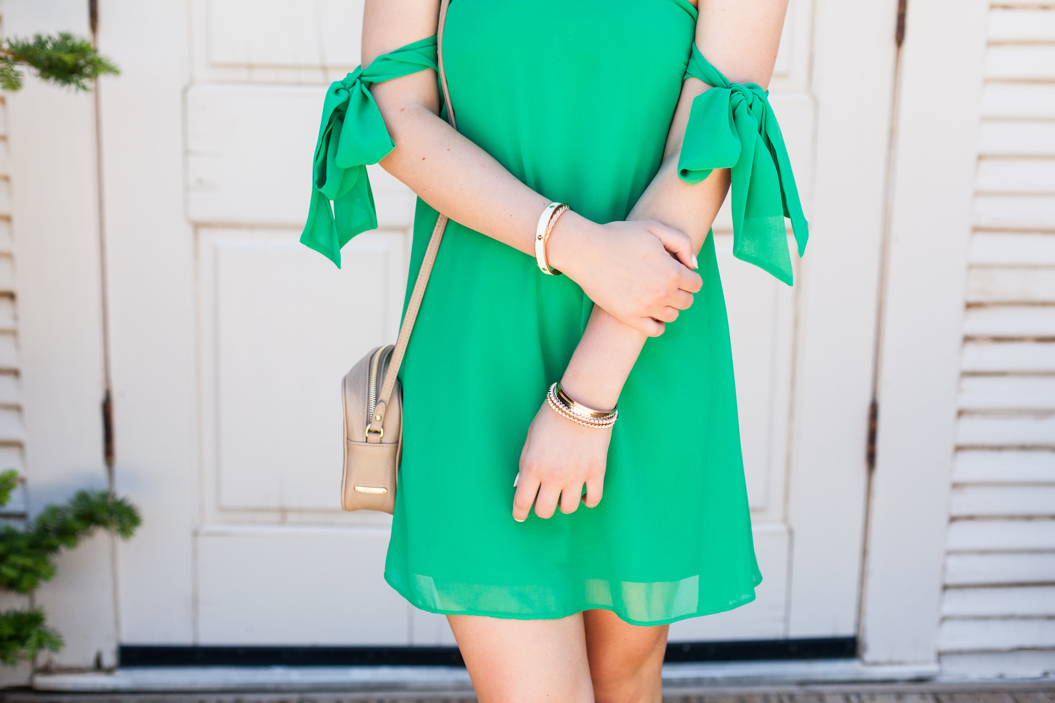 Girl in the Green Dress | Fashion and lifestyle blogger | Hot color for Summer | Asos | Audrey Madison Stowe Blog - Green Cold Shoulder Dress styled by popular Texas fashion blogger, Audrey Madison Stowe