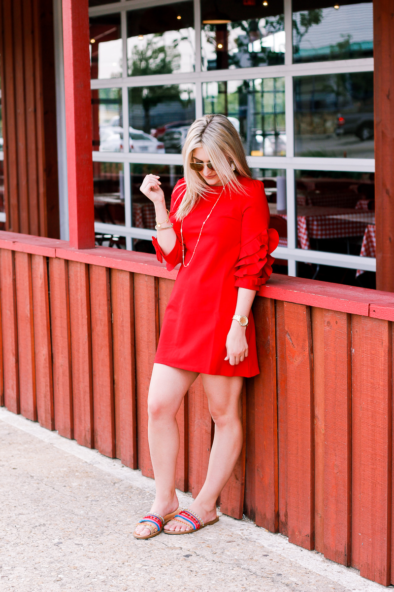 VIP Statement Sleeves Red Dress | https://www.vipme.com/solid-red-ruffle-half-sleeve-a-line-mini-dress_pV0004032101?utm_source=pinterest&utm_medium=SI&utm_campaign=Audrey_Stowe | Use code Audrey569 to get $5 off your order | Fashion and lifestyle blogger | @VIPme @pinner6892317