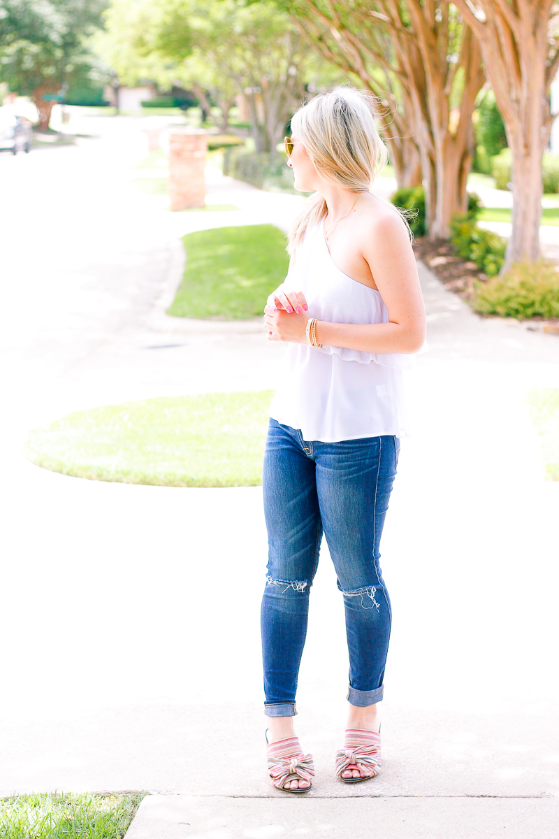 White One Shoulder Top + Bows on My Toes   Audrey Madison Stowe fashion and lifestyle blogger   Texas based   Easy Summer Look