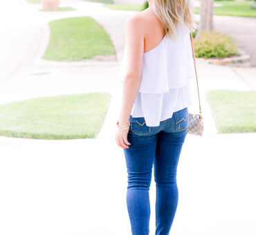 White One Shoulder Top + Bows on my Toes