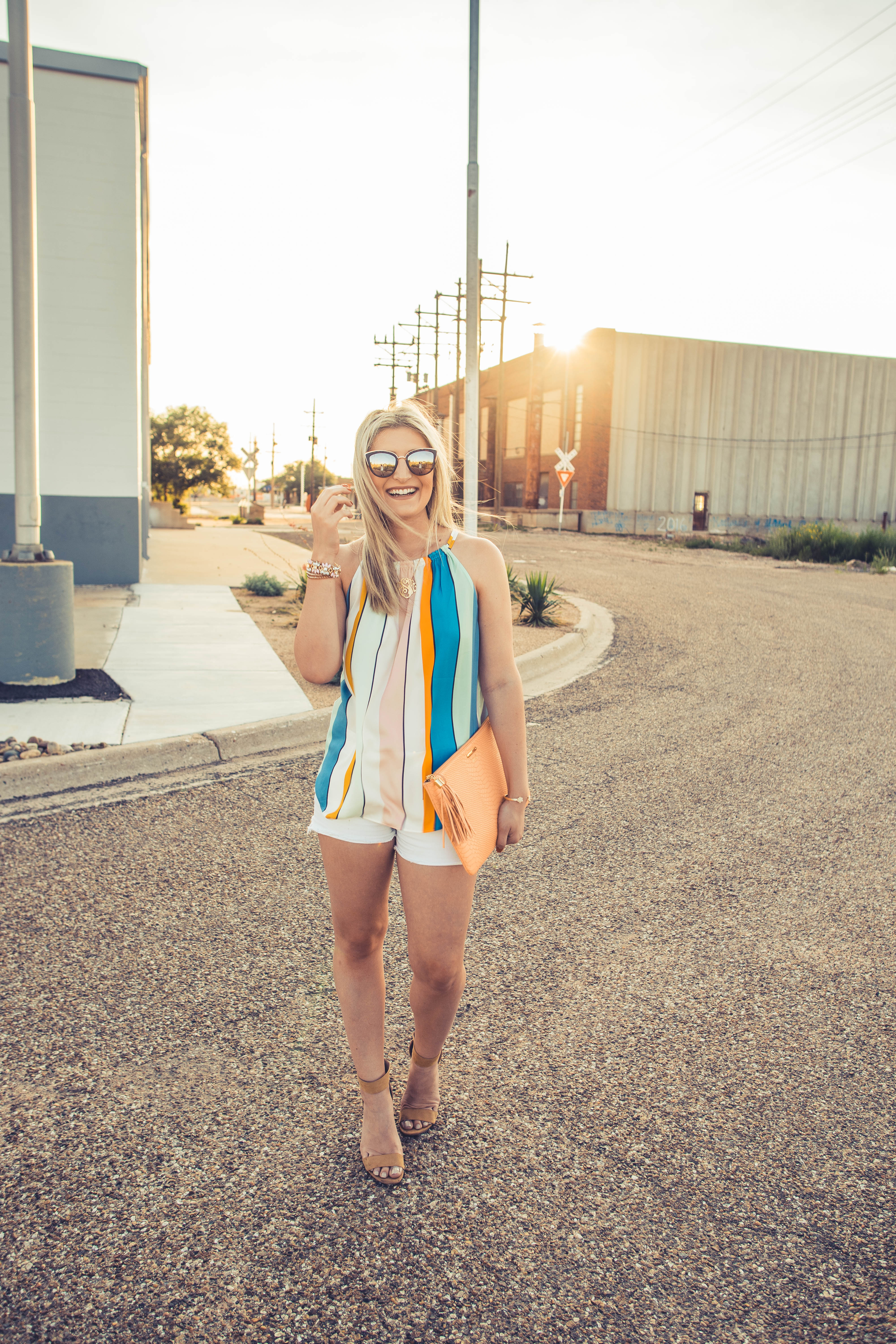 One last Summer Outfit   Audrey Madison Stowe a lifestyle and fashion blog   striped loft tee