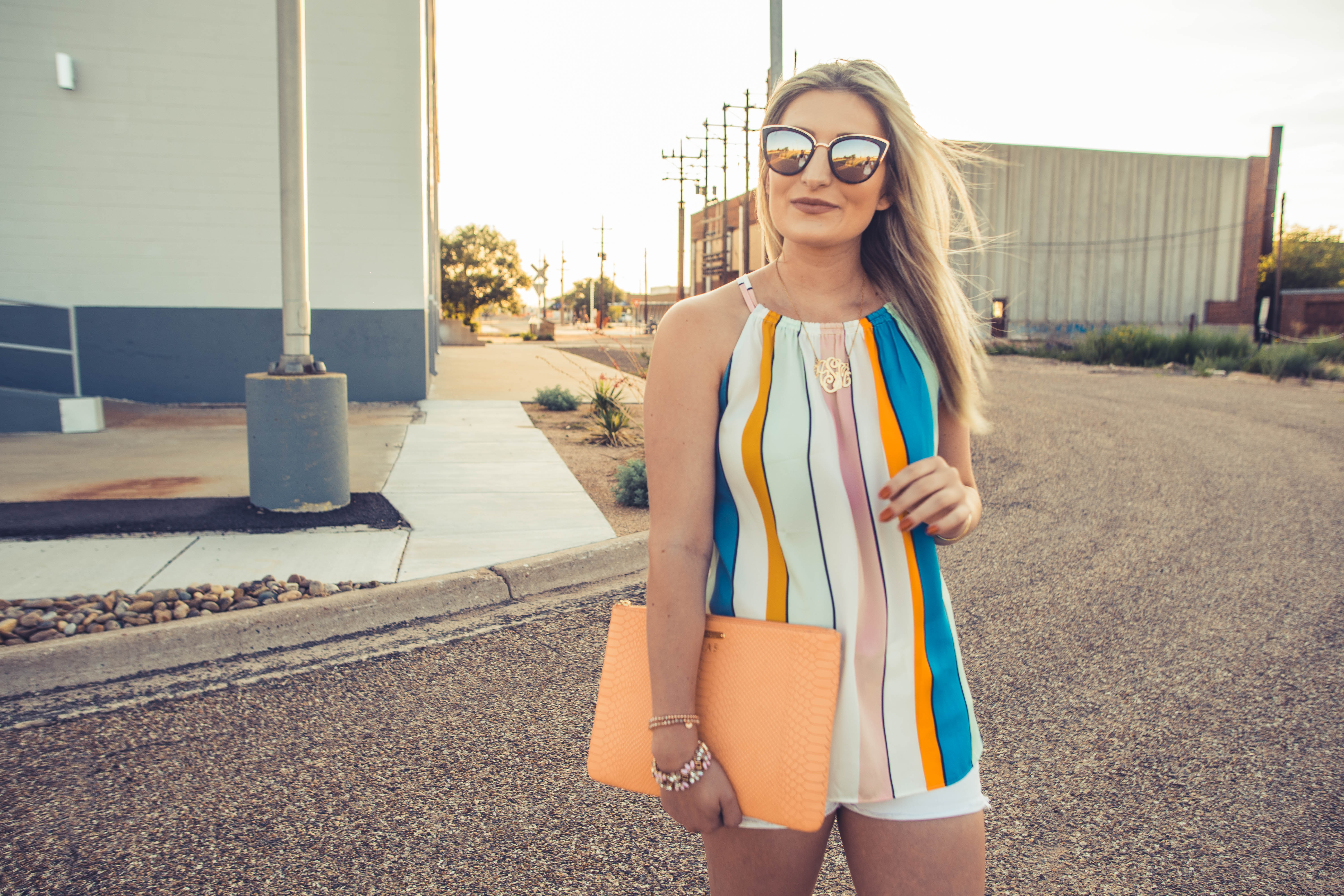 One last Summer Outfit | Audrey Madison Stowe a lifestyle and fashion blog | striped loft tee