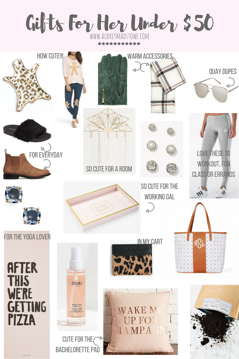 Gift Guide For Her Under $50 | Budget Style | Holiday gifts | Audrey Madison Stowe a fashion and lifestyle blogger