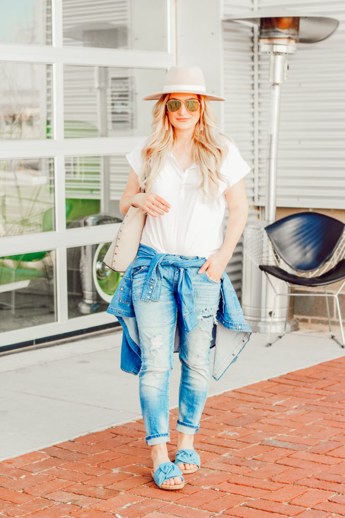 White Tee and Slip On Sandals You Need For Spring   Audrey Madison Stowe a fashion and lifestyle blogger - Easy White tee and Slip on Sandals You Need For Spring by popular Texas fashion blogger Audrey Madison Stowe