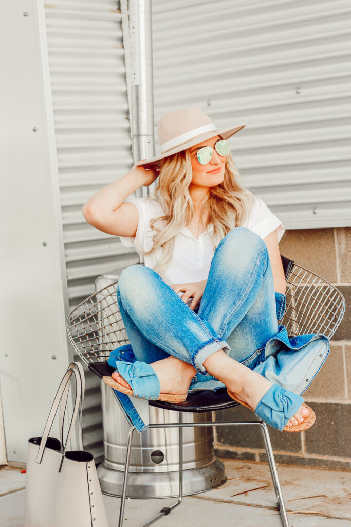 White Tee and Slip On Sandals You Need For Spring | Audrey Madison Stowe a fashion and lifestyle blogger - Easy White tee and Slip on Sandals You Need For Spring by popular Texas fashion blogger Audrey Madison Stowe