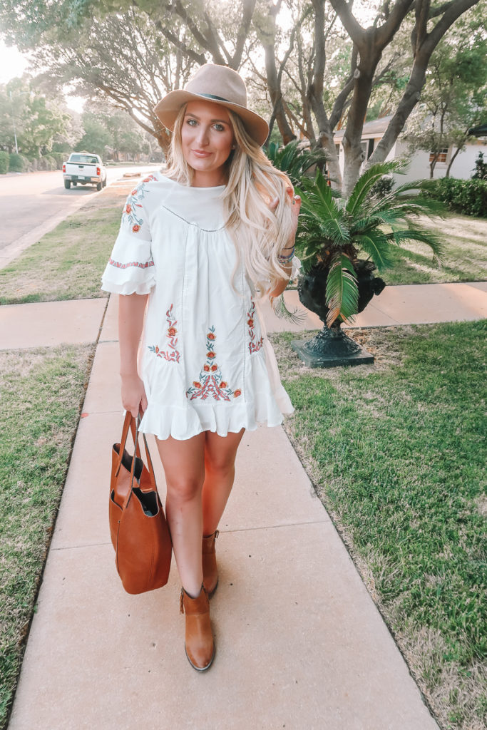 The Floral Embroidered Dress To Transition You To Fall featured by popular Texas fashion blogger Audrey Madison Stowe