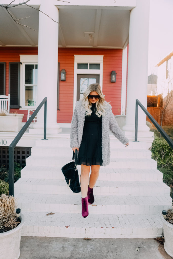 Black New Years Dress With Faux Fur | Lookbook | The Cutest New Years Eve Looks featured by top Texas fashion blogger Audrey Madison Stowe