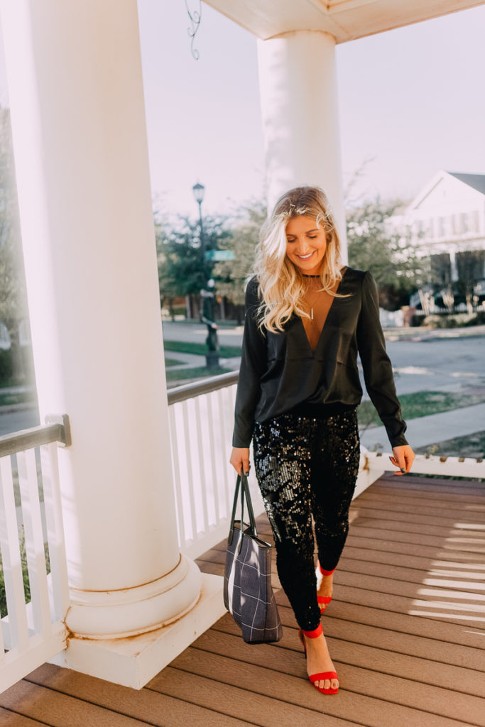 All black sequin outfit | Lookbook | The Cutest New Years Eve Looks featured by top Texas fashion blogger Audrey Madison Stowe