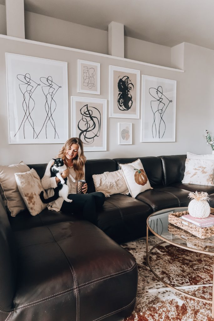 Modern Living Room Gallery Wall | Audrey Madison Stowe a fashion and lifestyle blogger