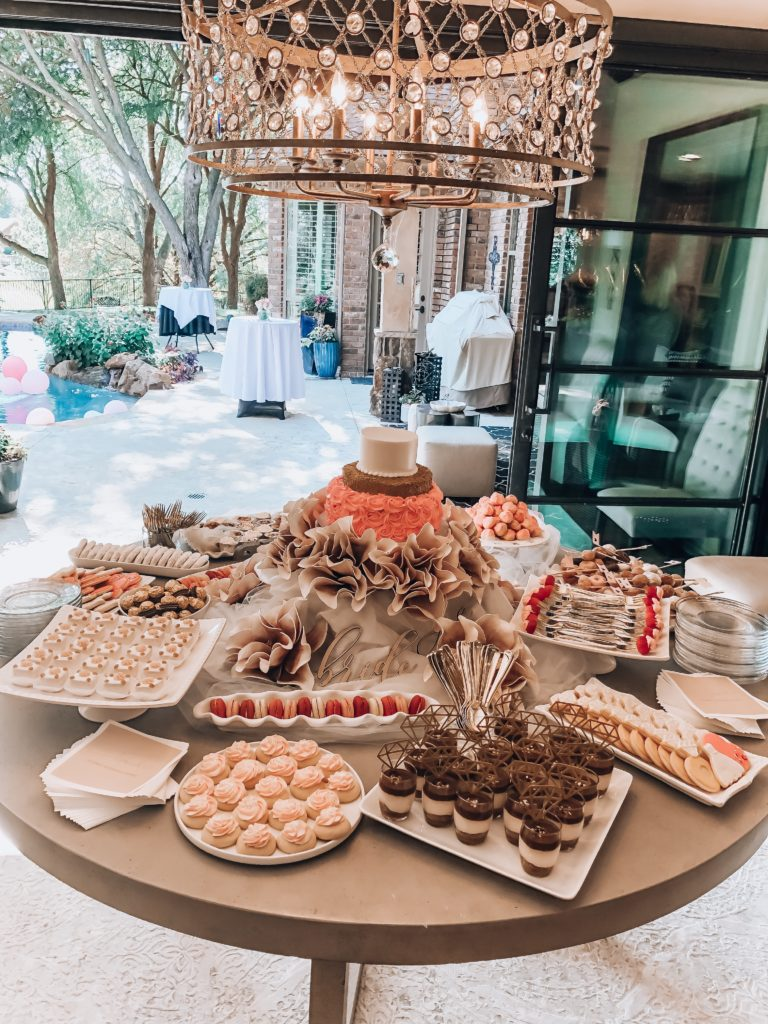 Sweets Table For Girly Bridal Shower | Audrey Madison Stowe a fashion and lifestyle blogger