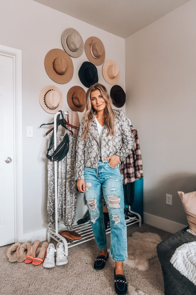 Snake skin moto Jacket | Audrey Madison Stowe a fashion and lifestyle blogger in Texas
