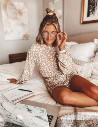 My Daily Schedule Working From Home   Self Employed Work Schedule   Audrey Madison Stowe a fashion and lifestyle blogger   Cute Leopard Set