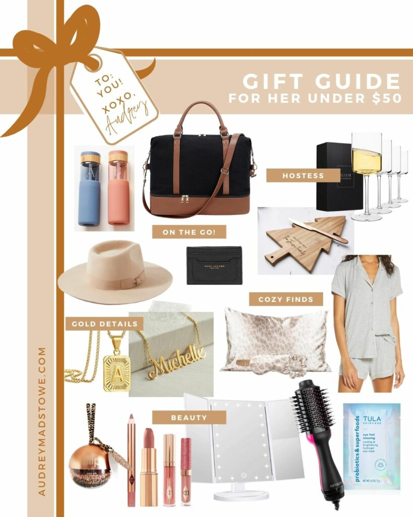 Gift Guide for HER under $50! The best Christmas gift ideas for her | Audrey Madison Stowe a fashion and lifestyle blogger