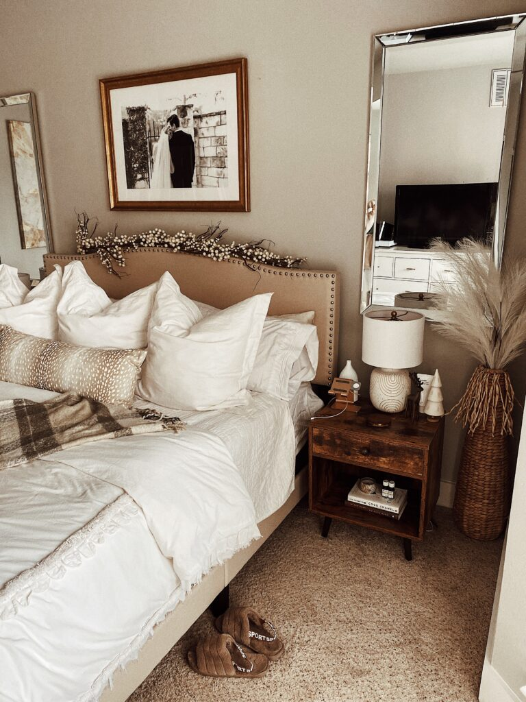 Our Neutral Holiday Bedroom Decor | Audrey Madison Stowe a fashion and lifestyle blogger