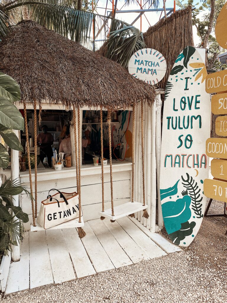 Matcha Mama in Tulum, Mexico | Aesthetic Instagram Spots | Audrey Madison Stowe