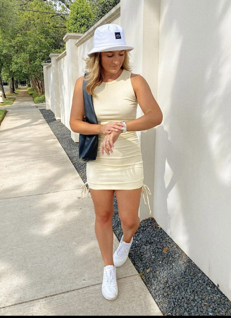 Ways To Wear White Sneakers | Trendy Ruched Summer Dress from Amazon