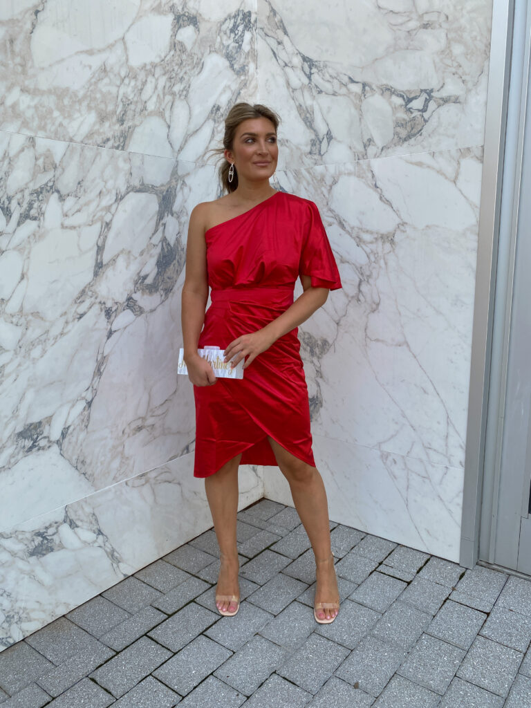 Vibrant Red dress / Summer To Fall Wedding Guest Dresses   Affordable Amazon event dresses   Audrey Madison Stowe