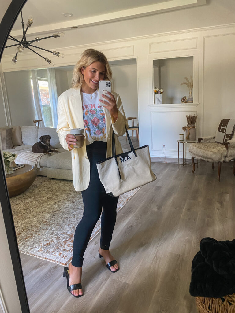 Summer to Fall workwear inspo for 2021   Oversized blazers with band tees   Audrey Madison Stowe